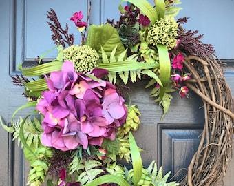 Couronne d'hortensia de printemps, printemps couronnes de porte, porte Decor printemps, couronnes pour le printemps, cadeau pour elle, violet couronnes, pendaison de crémaillère, l'été