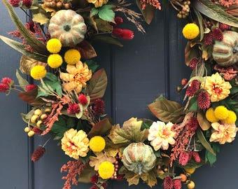 Porte couronnes, automne porte Decor, couronnes citrouille d'automne, décoration, décor de citrouille, pendaison de crémaillère, automne porte une couronne, Thanksgiving Decor d'automne
