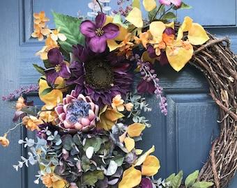Couronnes, Couronne d'automne, jaune violet, décor d'automne, automne décoration, couronnes de porte d'entrée, automne porte Decor, cadeau pour elle, chute de la porte d'entrée d'automne