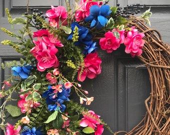 Couronnes de printemps, Couronne bleu rose, couronnes de roses, porte Decor printemps, roses et bleus couronnes, couronnes de porte printemps, cadeau pour elle, couronne de fleurs
