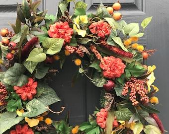 Couronnes, automne porte une couronne, automne porte décor, décoration d'automne, couronnes de Thanksgiving, décor de l'automne, couronnes de porte d'entrée, couronnes d'automne pour l'automne