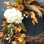 Fall Wreaths Hydrangea Wreath Fall Door Decor White Hydrangea Fall Leaves Fall Decorating Pumpkin Wreath With Pumpkins Thanksgiving Decor