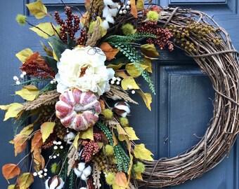 Fall Wreath Pumpkin Wreath Door Decor Fall Door Wreaths Thanksgiving Wreath Gift for Fall November Gift Ideas Fall Leaves Decor Wreath