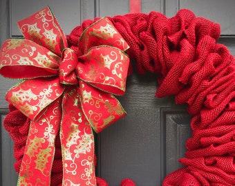 Red Burlap Christmas Wreath Red Burlap Wreaths Simply Red Wreath Burlap Door Decor Red Wreath Gift Ideas Housewarming Gift Door Wreath