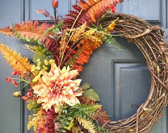Couronnes, couronne de fougère automne, couronnes de porte automne, couronnes de fougère, automne porte Decor, cadeau pour elle, automne, décoration, couronne de porte d'entrée d'automne