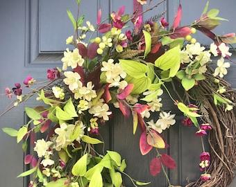Couronnes de porte Couronne printemps porte Decor ressort violet verts cadeaux pour sa pendaison de crémaillère de jour de mères printemps des couronnes de porte de décoration