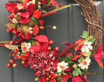 Couronne d'automne, automne porte couronnes, guirlandes pour l'automne, couronnes de porte d'entrée, couronnes de rouge, décor de porte rouge, Hortensia Couronne, Hortensia Couronne d'automne