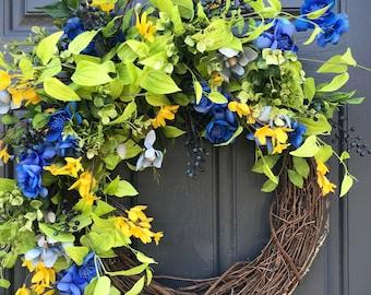 Printemps des couronnes de porte, porte Decor de printemps, bleu vert jaune, bleus couronnes, printemps couronnes, cadeau de fête des mères, cadeau de pendaison de crémaillère, couronnes de porte