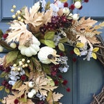 White Fall Wreaths Fall Door Wreath Fall Door Decor Autumn Wreaths Thanksgiving Wreaths White Pumpkin Wreath White Fall Decor Gift Ideas