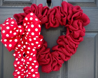 Red Heart Wreaths, Heart Door Decor, Red Heart Gifts, Gift for Her, Love Gift, Heart Decorations, Heart Shaped Wreaths, Fun Wreaths, Hearts
