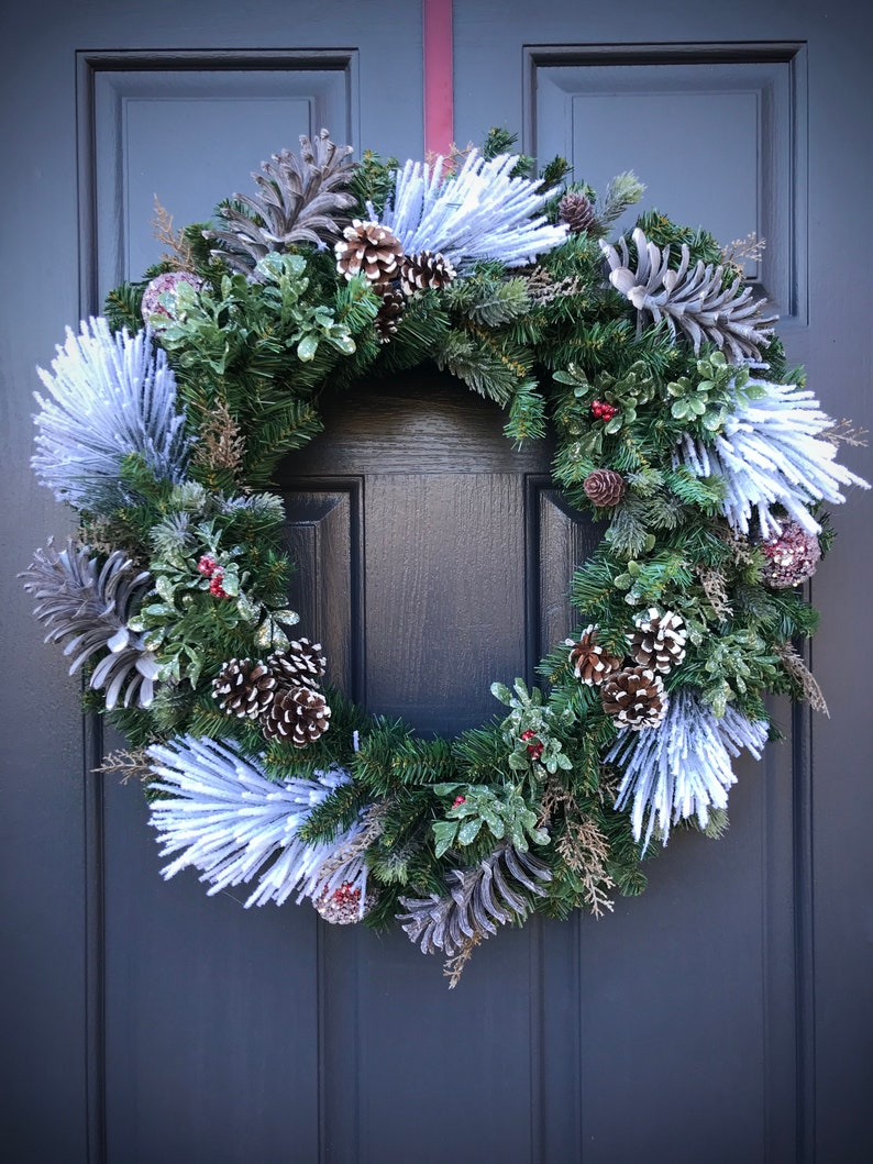 Winter Wreath Christmas Wreath Winter Door Wreath Evergreen image 0