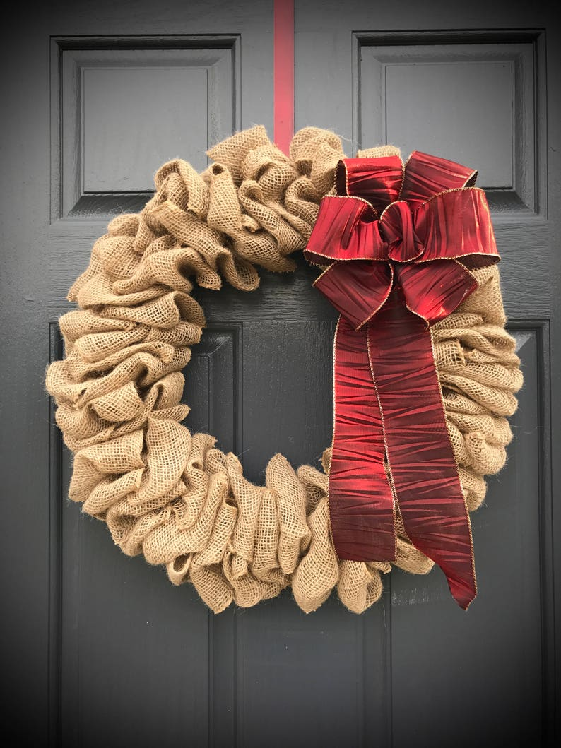 Christmas Burlap Wreath Holiday Burlap Wreaths Burlap Door image 0