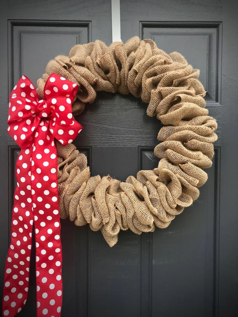 Burlap Wreath Fun Wreaths Burlap Door Wreath Natural Burlap image 0