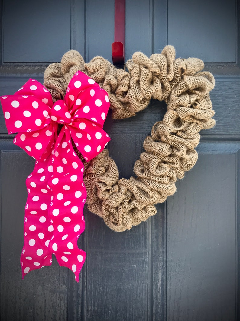 Heart Wreaths Burlap Heart Wreath Burlap Decor Heart Decor image 0