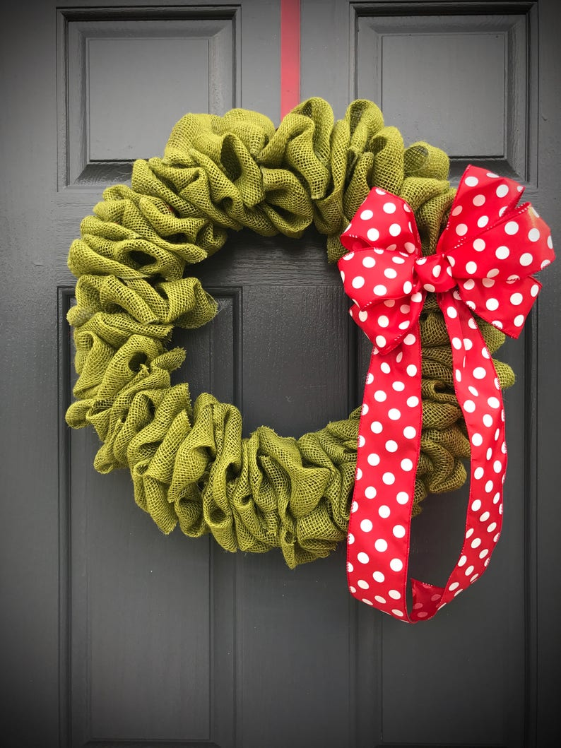 Green Burlap Wreath Green Wreaths Polka Dots Red Green Red image 0