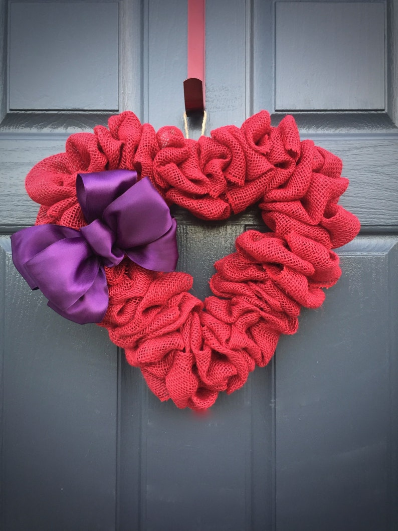 Red Heart Wreath Burlap Heart Red and Purple Red Heart image 0