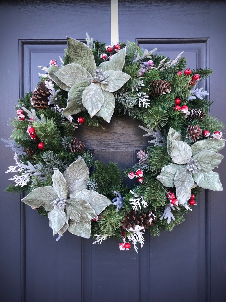 Winter Wreath Poinsettia Wreath Christmas Wreaths Evergreen image 0
