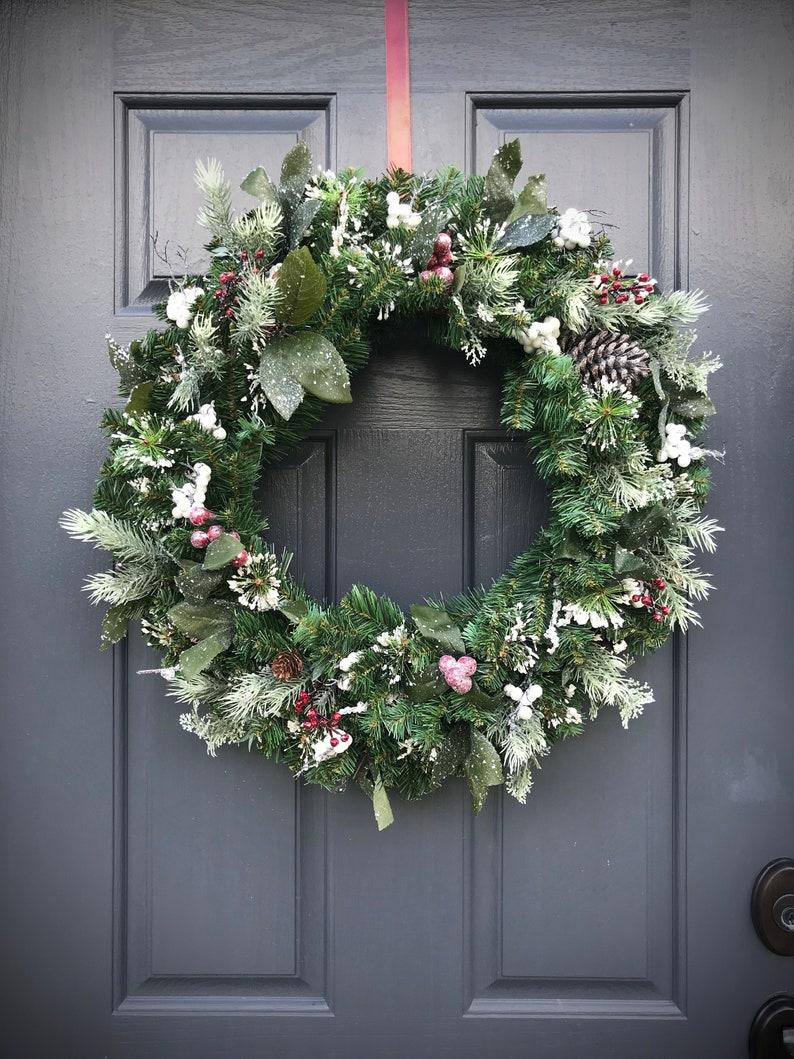 Winter Wreath Winter Decorating Evergreen Wreath Winter Gift image 0