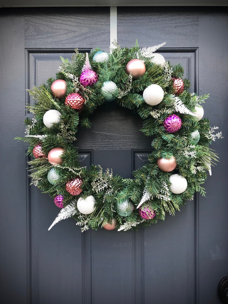 Pastel Christmas Wreath Pink Christmas Wreath Door Wreaths image 0