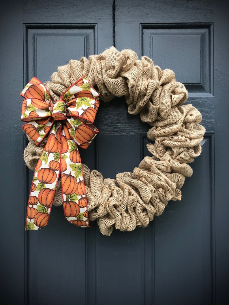 Burlap Wreath Fall Burlap Decor Pumpkin Wreath Pumpkin Ribbon image 0
