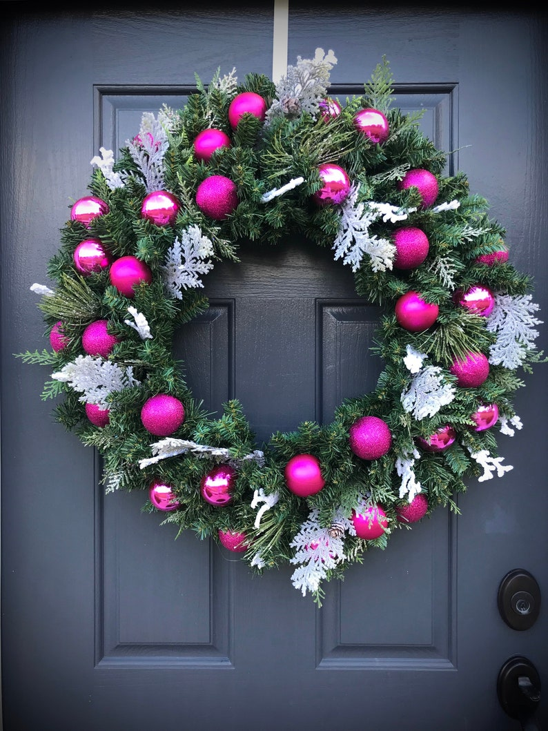 Large Christmas Wreath Pink Wreaths Christmas Door Wreath Pink image 0