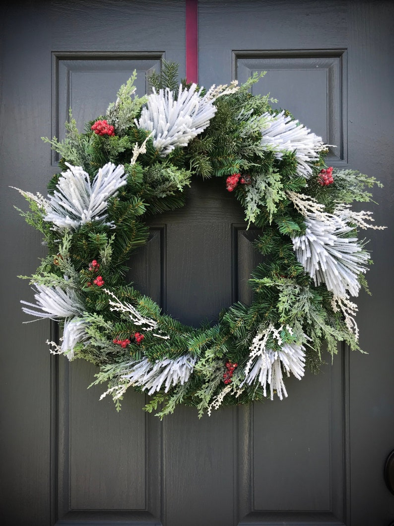 Winter Wreaths Winter Door Decor Evergreen Wreaths Gift for image 0