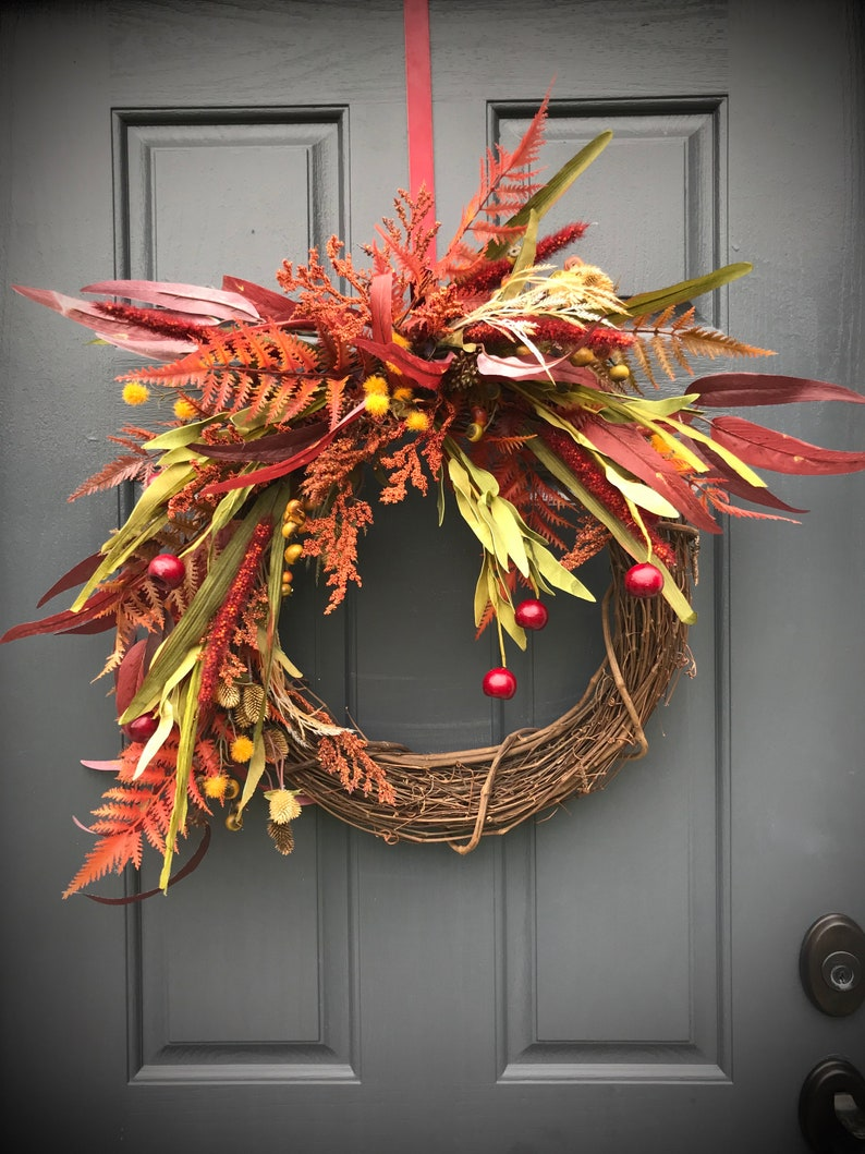 Fall Fern Wreath Fall Door Wreaths Fall Door Decor Fall image 0