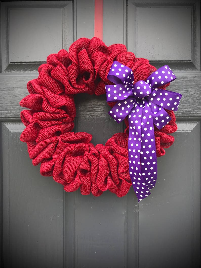 Red Burlap Wreath Red Purple Purple Polka Dots Small Red image 0