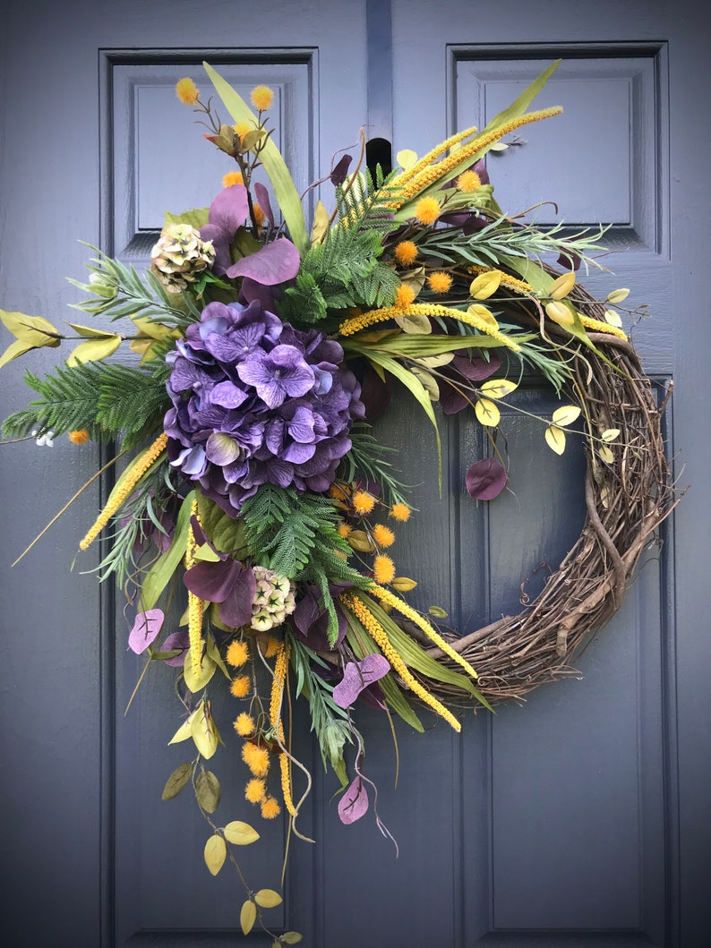 Fall Hydrangea Wreath Purple Hydrangea Wreaths Fall Door Decor image 0