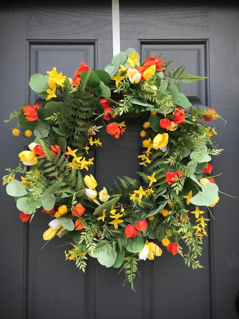 Spring Wreaths Spring Door Wreaths Orange Yellow White Wreath image 0