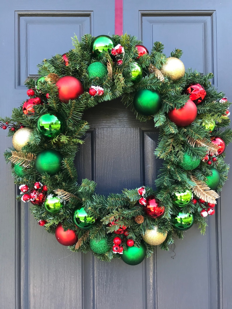 Christmas Wreath Christmas Ball Wreath Red Green Gold Holiday image 0