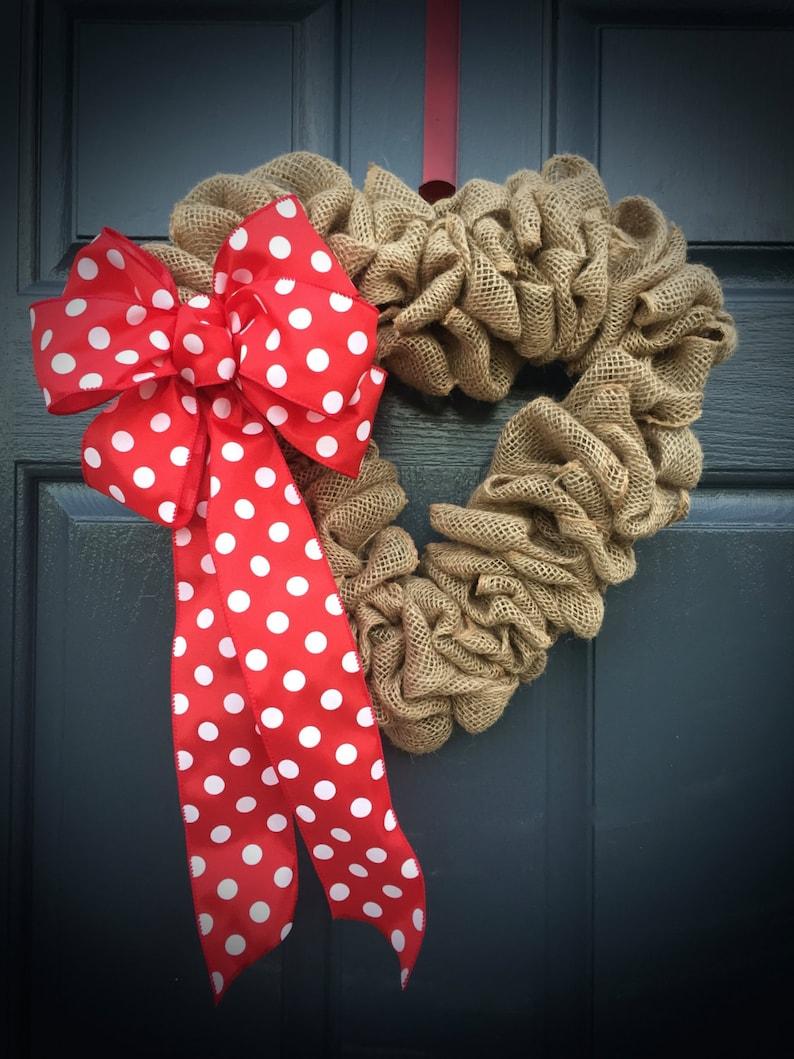 Heart Wreath Heart Decor Valentines Day Wreath Burlap Heart image 0
