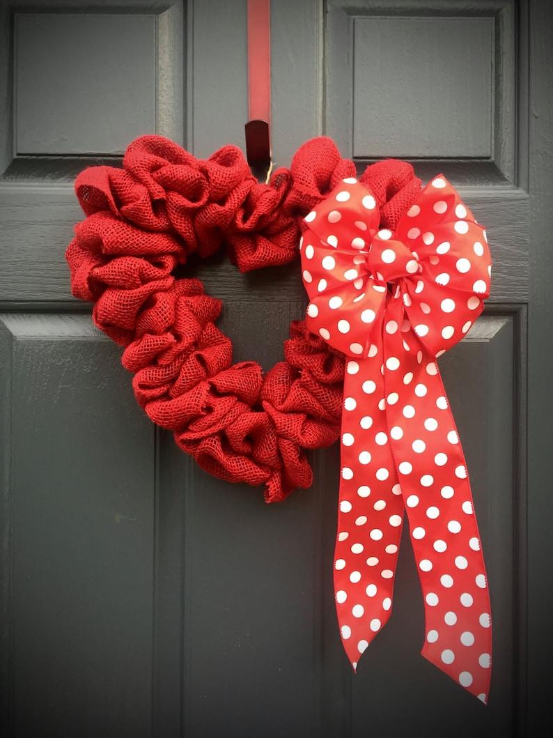 Heart Shaped Wreath Red Heart Wreath Red Heart Decor image 0