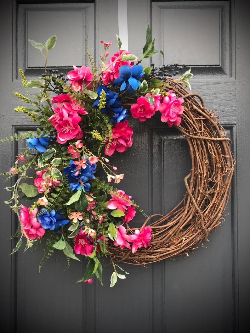 Spring Wreaths Pink Blue Wreath Pink Wreaths Door Decor image 0