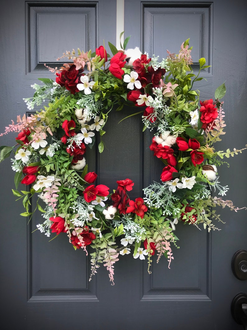 Spring Wreath Red White Wreaths Pink Door Decor Red Floral image 0