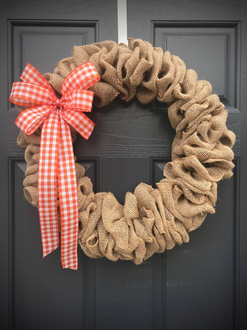 Burlap Wreaths Gingham Burlap Door Wreath Fun Gifts Cute image 0
