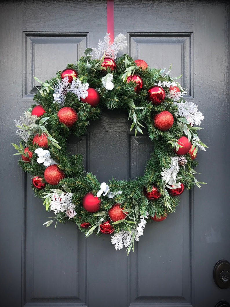 Red Christmas Wreath  Christmas Door Wreath Red Door Wreaths image 0