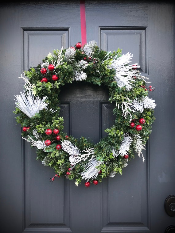 Winter Wreaths Winter Door Decor Evergreen Wreaths Gift For Her Housewarming Gifts Winter Gift Ideas Christmas Wreaths Red Berries Snowy by Etsy