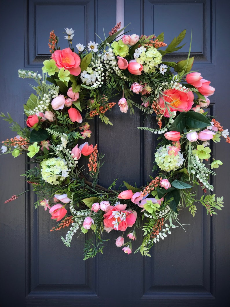 Spring Wreath Easter Wreath Coral Wreaths Spring Door Decor image 0