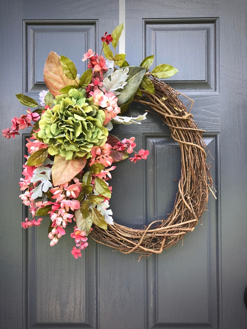 Fall Wreath Pink Green Fall Door Decor Fall Decorating image 0