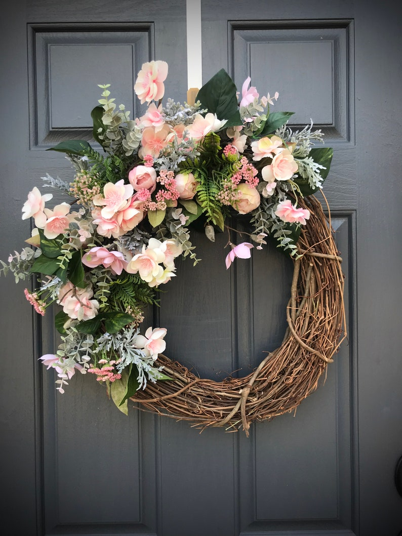 Spring Wreaths Pink Spring Wreath Pink Green Door Decor Spring image 0