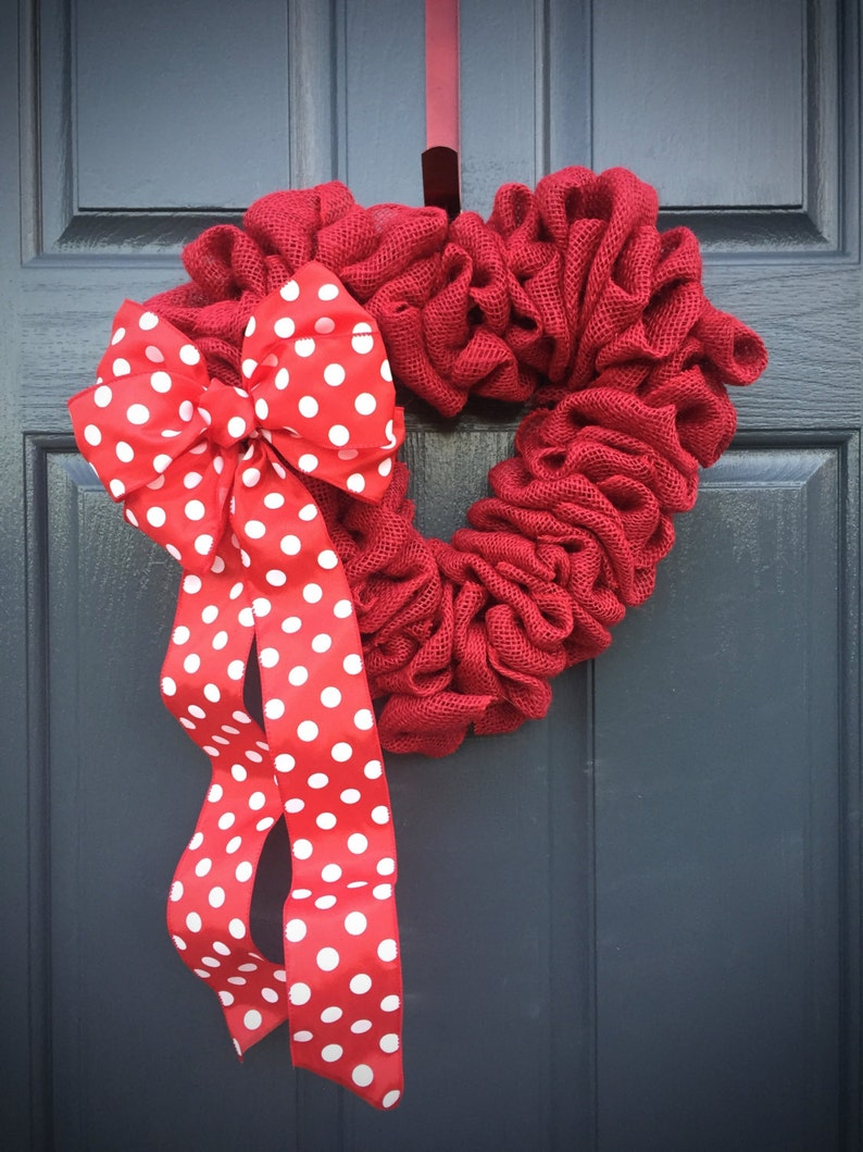 Red Heart Wreath Burlap Heart Love Gift Valentines Day image 0