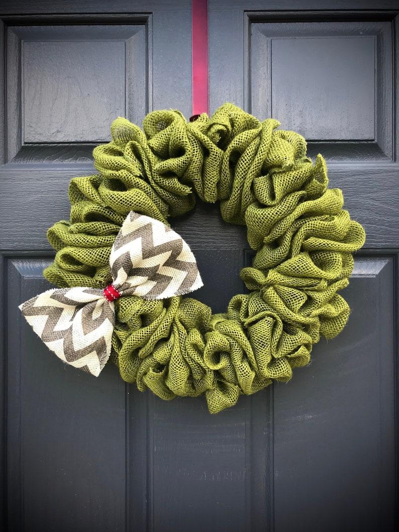 Burlap Wreath Green Wreaths Green Burlap Door Wreath Small image 0