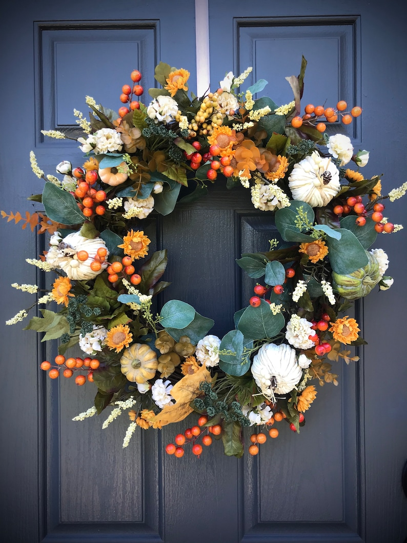 White Pumpkin Wreath Fall Wreaths Fall Door Wreath with image 0