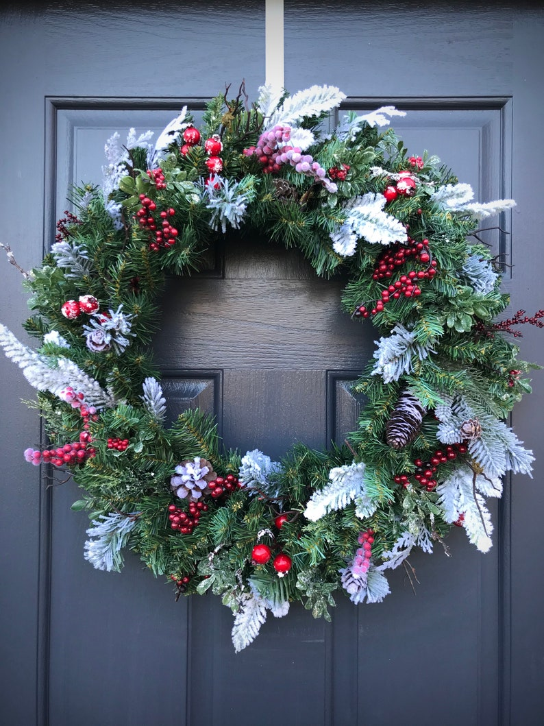 Winter Wreaths Christmas Wreath Evergreen Wreath Red Berry image 0