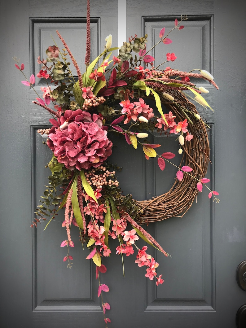 Fall Hydrangea Wreath Fall Door Wreaths Fall Door Decor Fall image 0