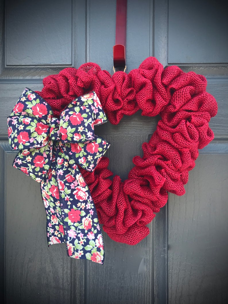 Red Heart Wreath Love Gift Valentines Day Wreaths Heart image 0