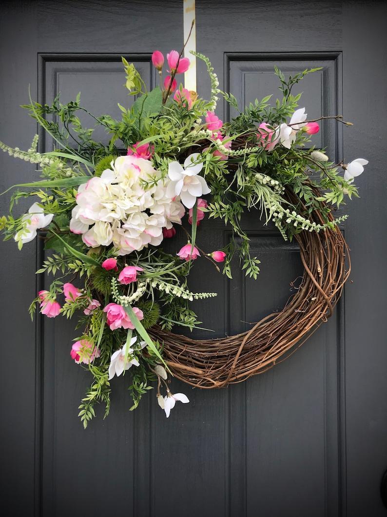 Spring Wreath Spring Door Wreaths Hydrangea Wreath Spring image 0