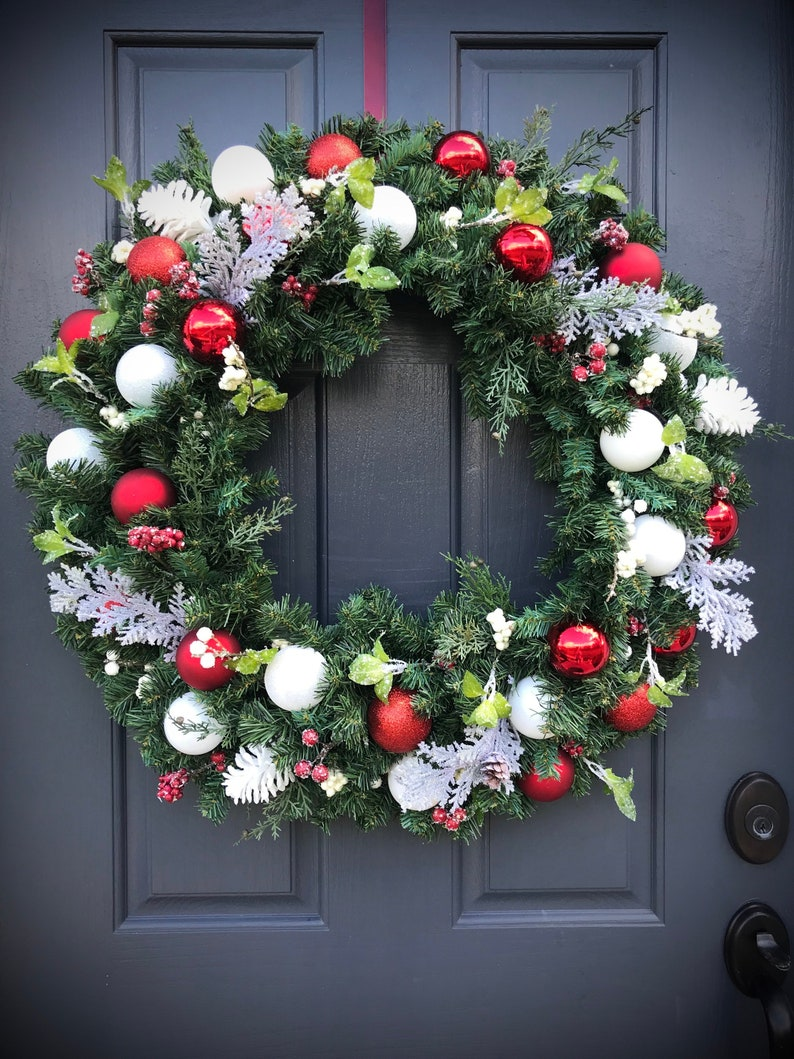 Large Christmas Wreath Red White Wreaths Christmas Door Wreath image 0