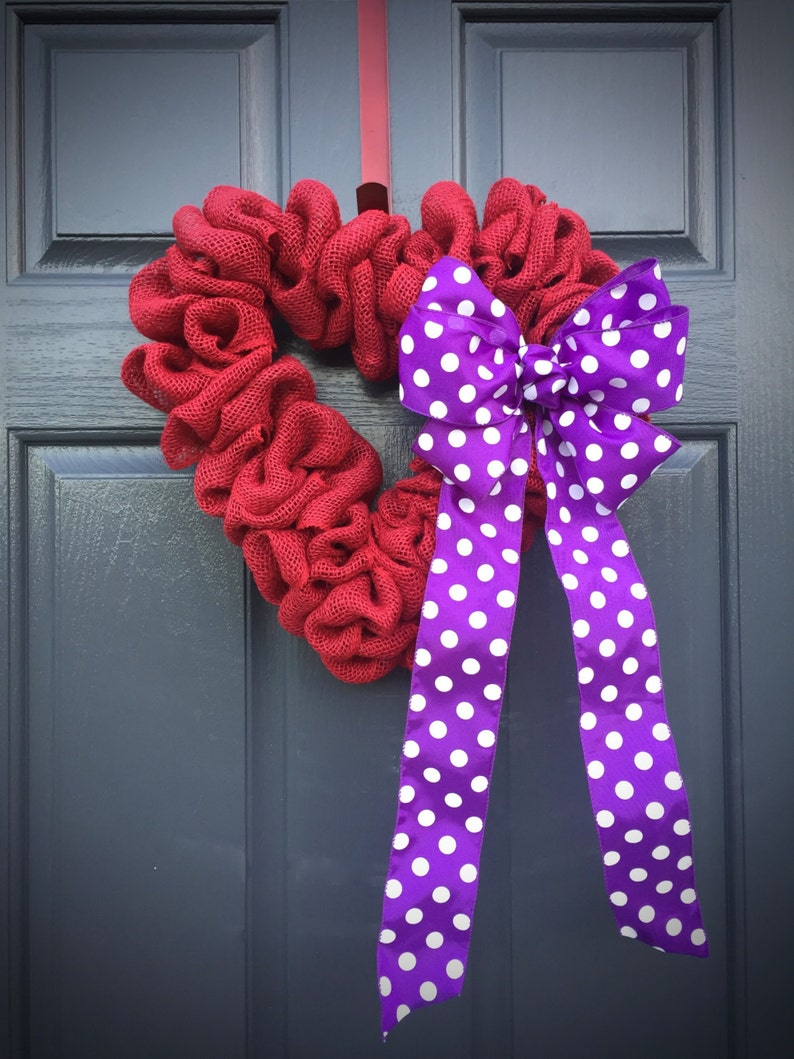Red Heart Wreath Purple Love Gift Valentines Day Wreath image 0